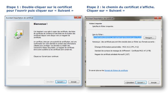 Image de l'assistant d'importation de certificat : Etape 1 : double cliquer sur le certificat puis cliquer sur