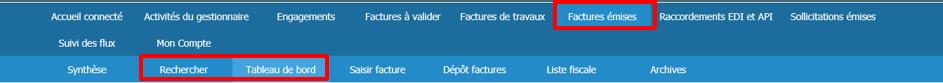 Copie d'écran du menu Chorus Pro - factures émises
