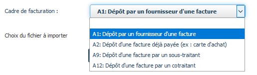 Cadres de facturation (A1, A2, A, A)