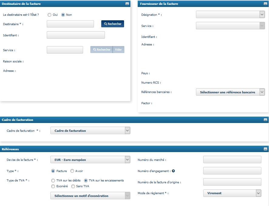 Formulaire de saisie d'une facture