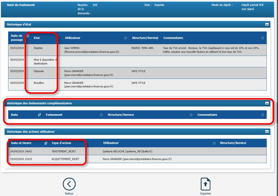 Capture d'écran suivi du traitement d'une facture rejetée