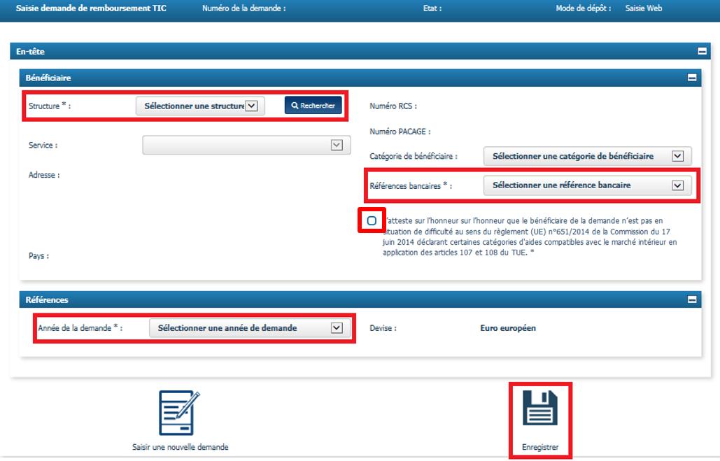Données d'en tête du formulaire de siasie de demande de remboursement TIC