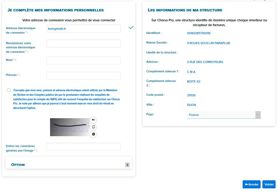 écran je complète mes informations personnelles pour créer un compte