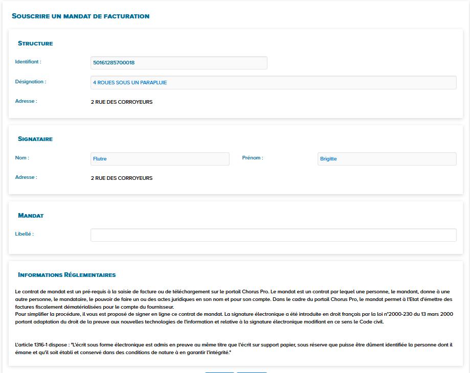 Ecran souscrire un mandat de facturation