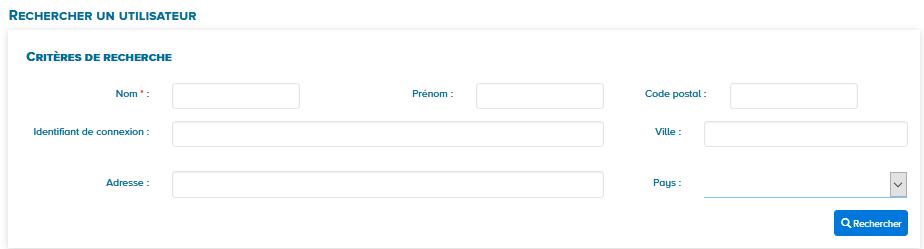 écran recherche un utilisateur