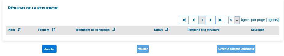 écran de recherche des utilisateurs