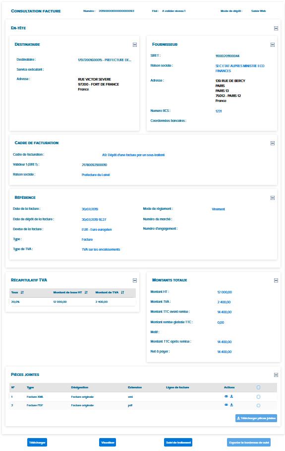 écran de consultation des factures