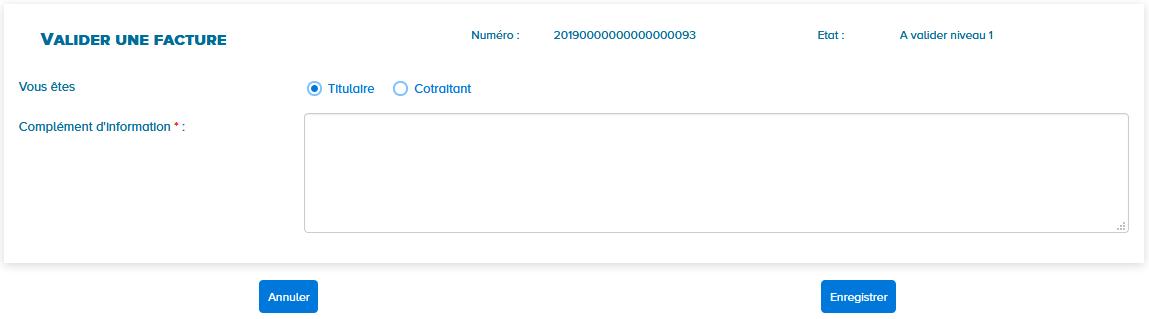 écran de validation de facture