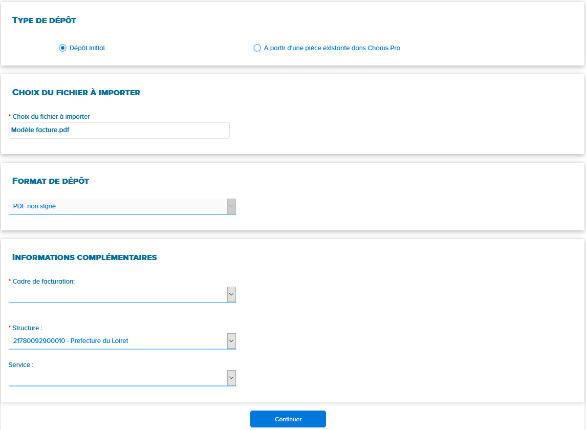 écran de dépôt de facture