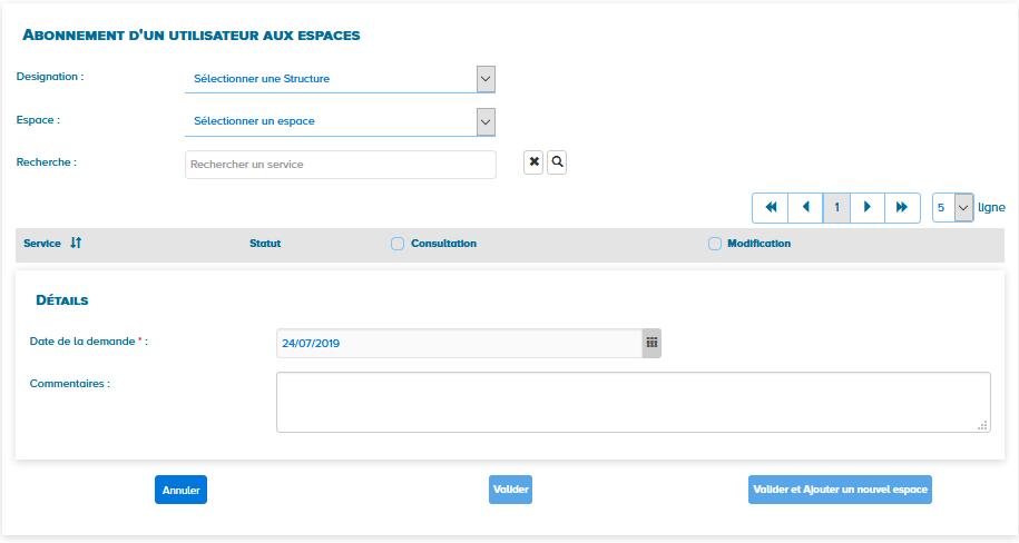 Ecran d'abonnement d'un utilisateur aux espaces