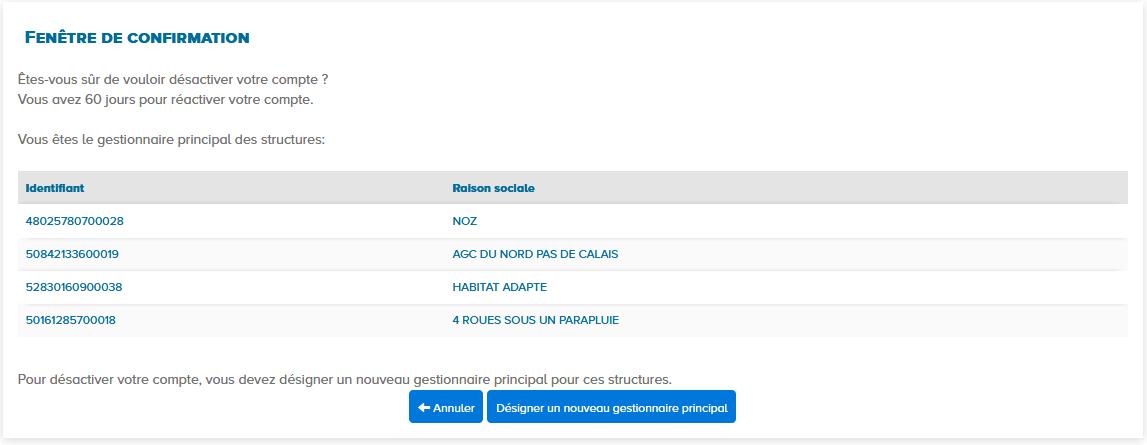 fenêtre de confirmation de la désactivation du compte