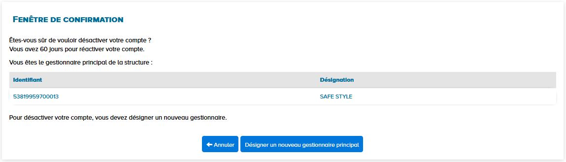 fenêtre de confirmation désactivation du compte