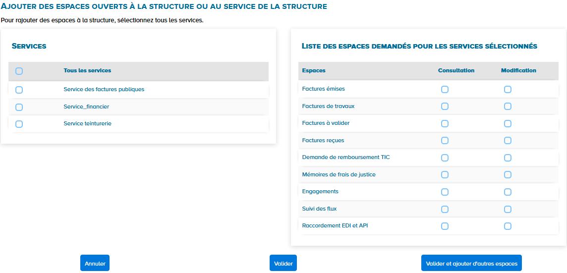 écran ajouter des espaces ouverts à la structure ou au service de la structure