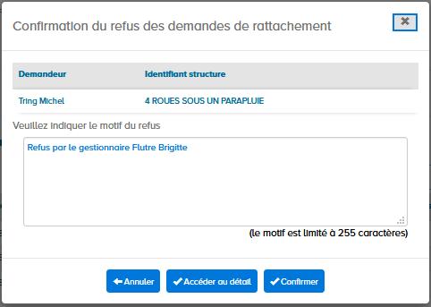 écran confirmation du refus de la demande de rattachement