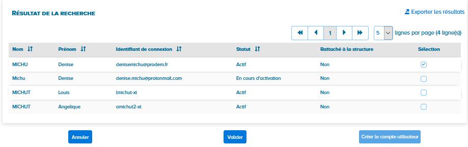 écran résultat de la recherche