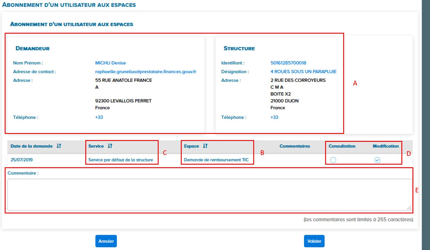 Ecran abonnement d'un utilisateur aux espaces