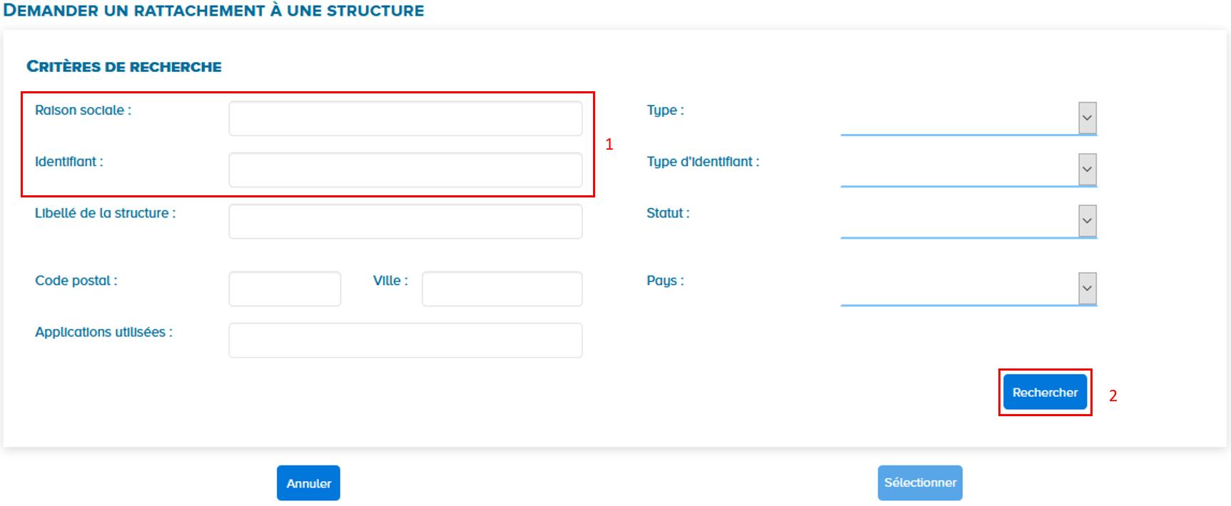 écran critères de recherche