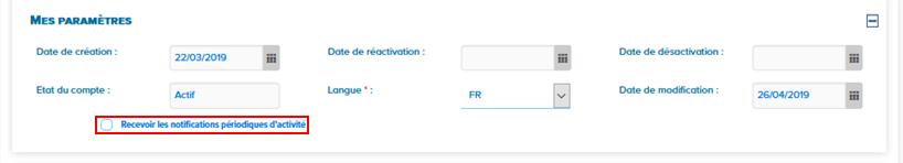 Paramétrage recevoir des notifications périodiques d'activité