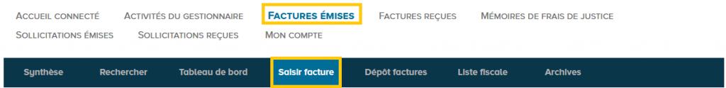 Espace Factures émises et onglet Saisir facture