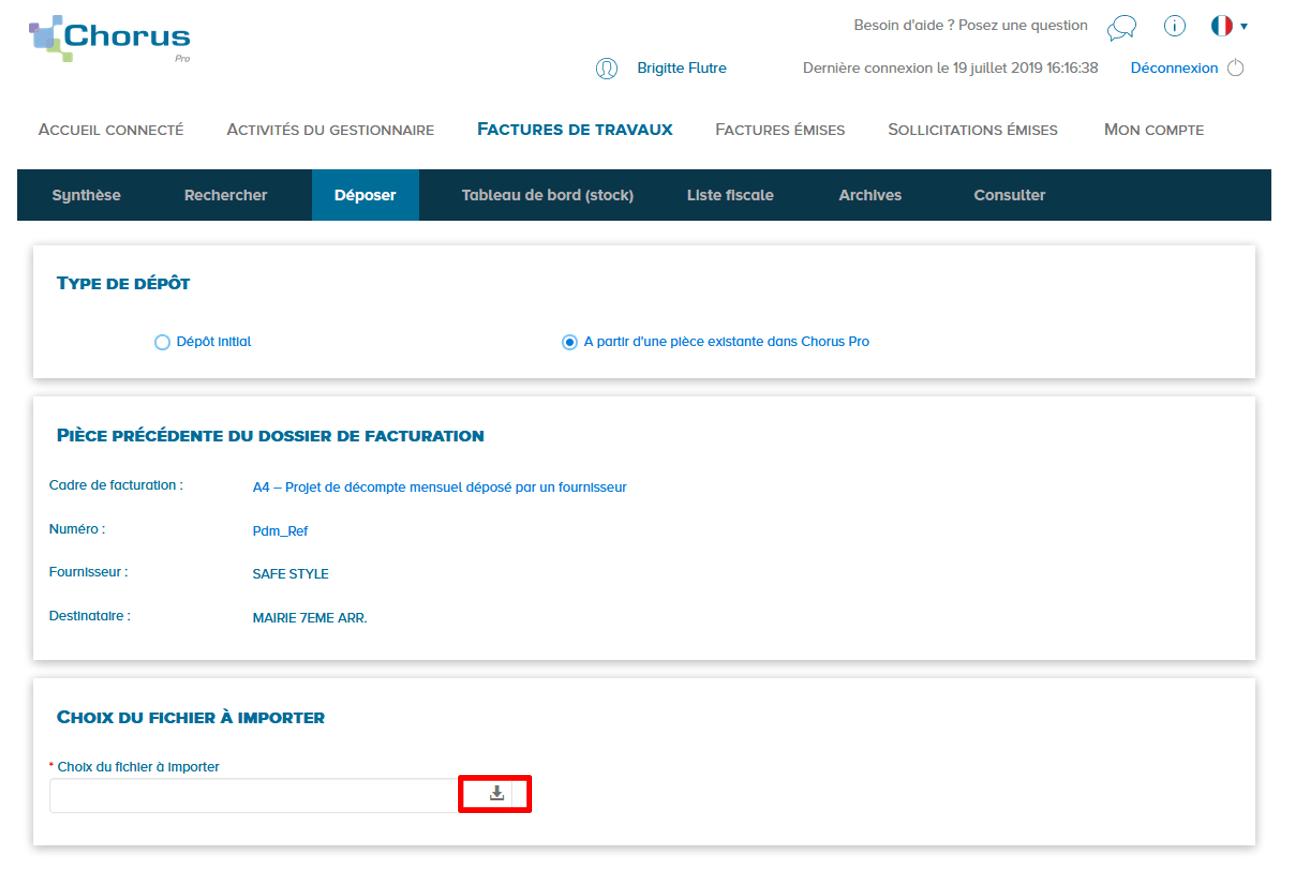 page d'ajout de pièce jointe suivante au dossier de facturation avec le lien de téléchargement entouré en rouge