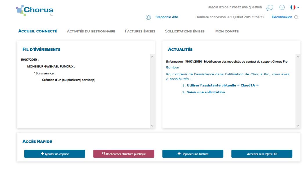 page d'accueil connectée Chorus Pro avec vos espaces par défaut, le fil d'événement et l'actualité