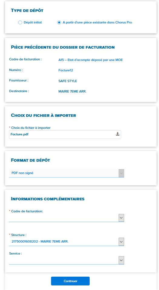 dépôt de factures de travaux pour la MOA avec les blocs à compléter et le fichier à télécharger