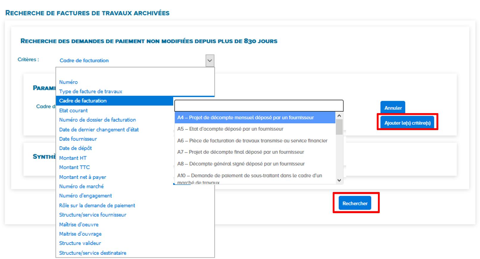 choisir les critères pour rechercher une facture archivée