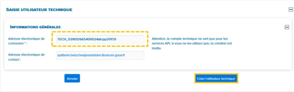 Modification adresse email du compte technique à la création