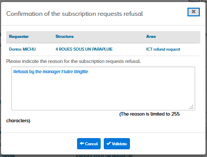 confirmation of the subscription requests refusal
