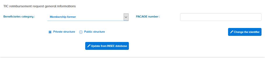 TIC reimbursement request general informations