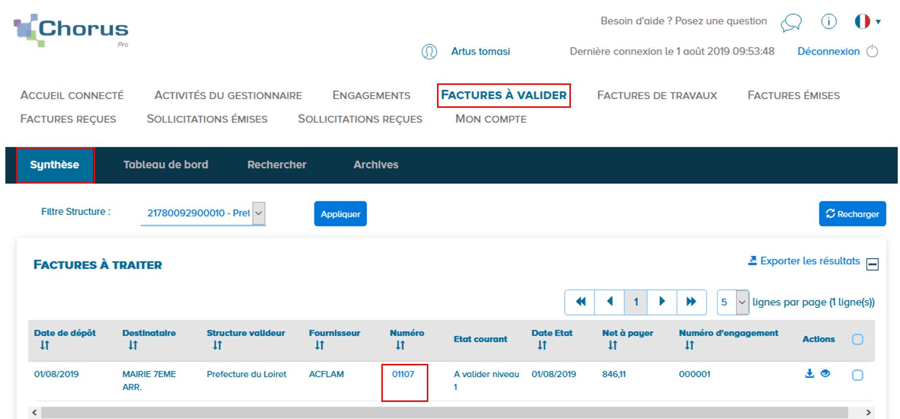 Ecran présentant la synthèse des factures à valider