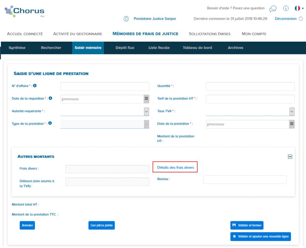 Cet écran montre l'accès au détail des frais divers lors de la saisie d'une ligne de prestation frais de justice