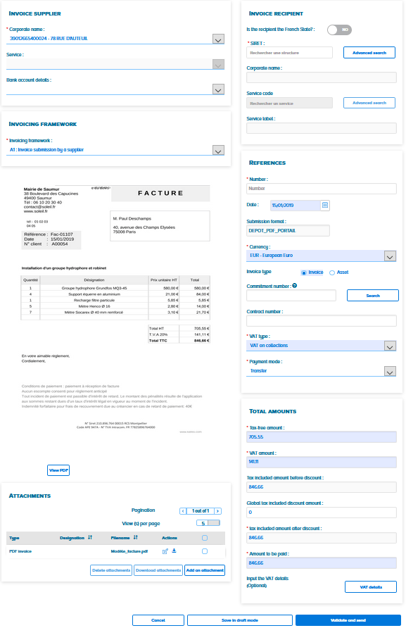 Submitting a single or batch invoice – Communauté Chorus Pro