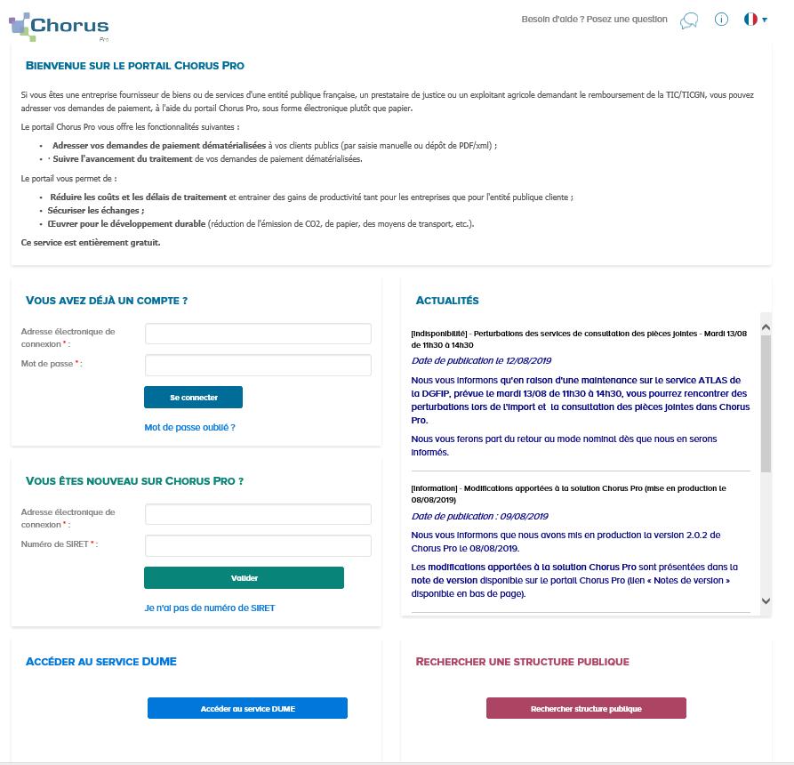 Page d'accueil lors de l'accès au site Chorus Pro