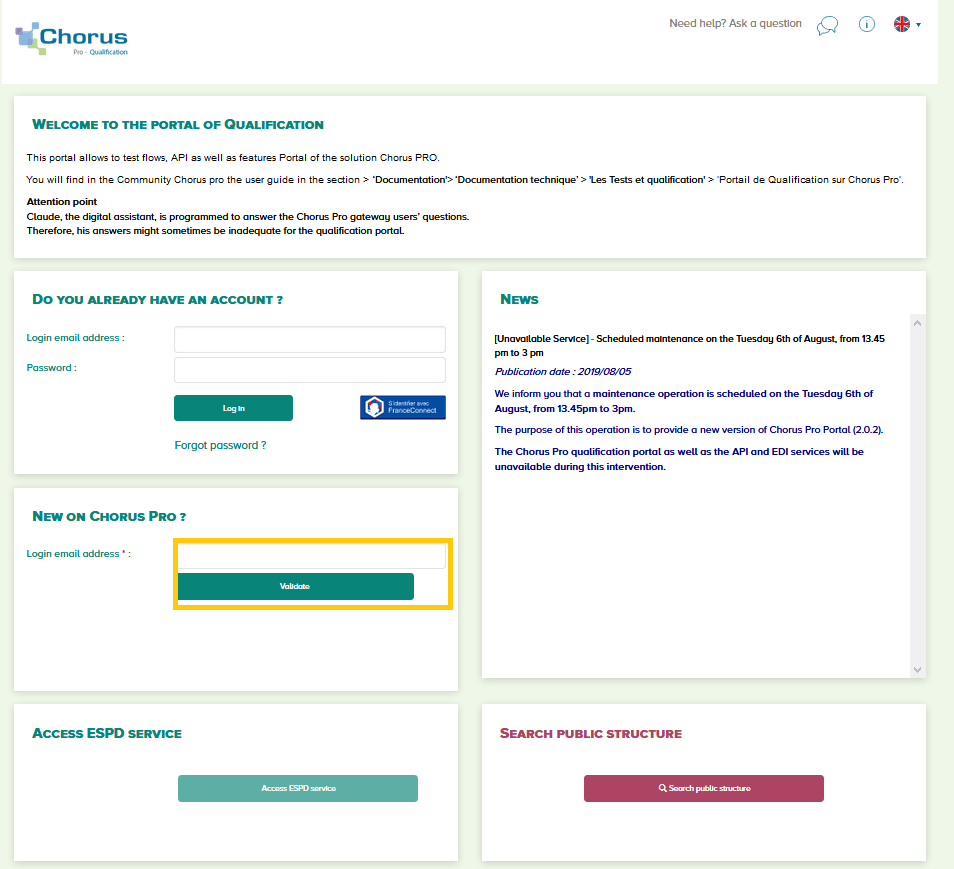 Chorus Pro qualification portal – Communauté Chorus Pro