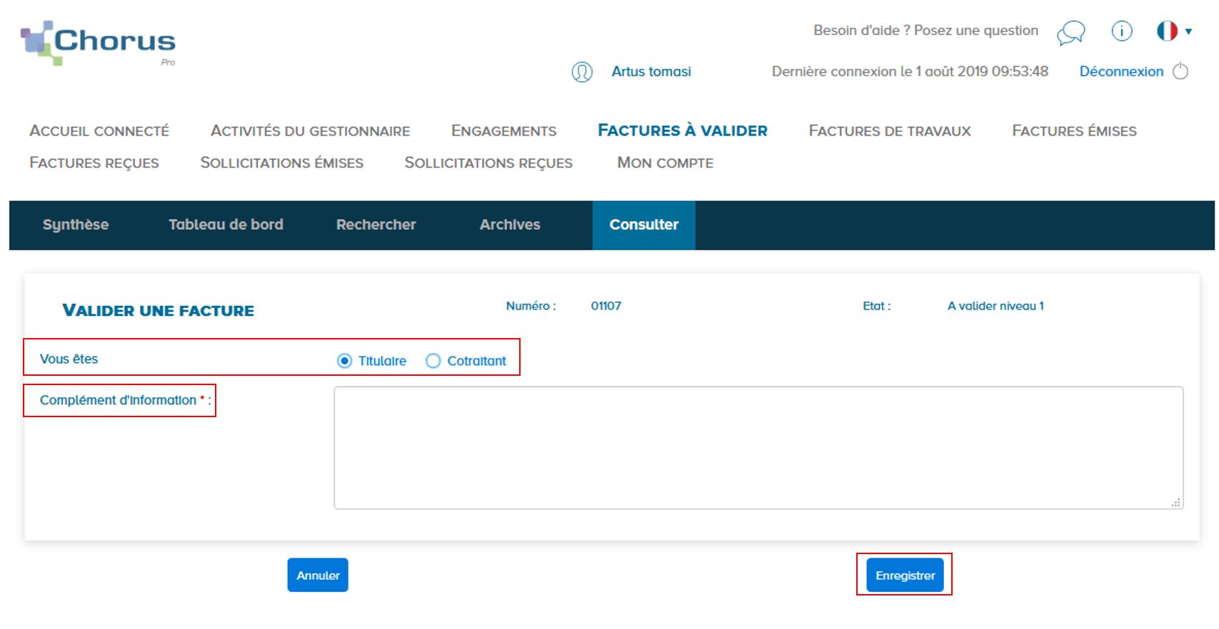 Consultation de la facture à valider, 2 champs à remplir et cliquer sur le bouton enregistrer