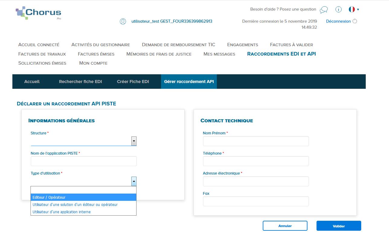 écran présentant le type d'utilisation API