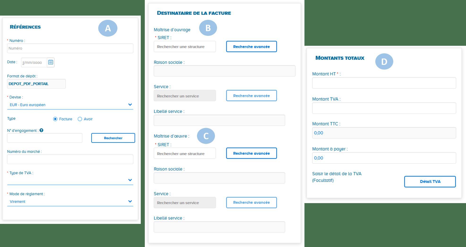 Données obligatoire dépôt factures de travaux