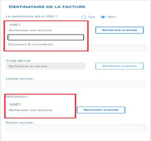Ecran descriptif des champs du destinataire de la facture