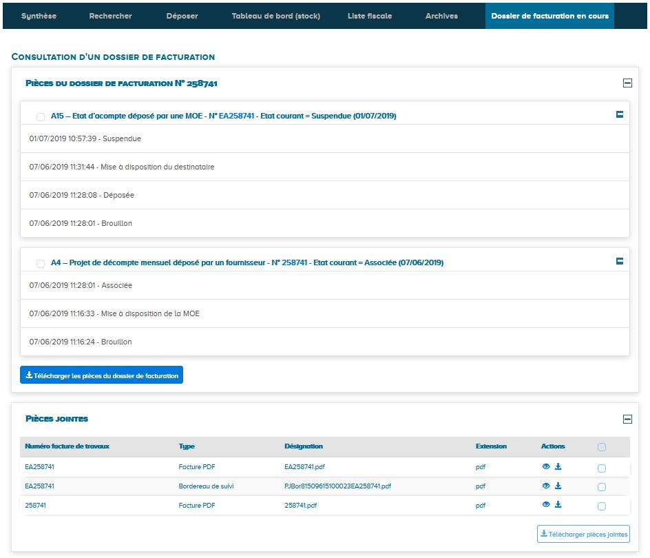 Comment accéder à l'historique de la facture sur CP