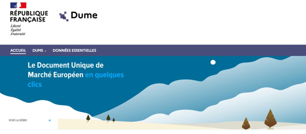 Image de l'ecran d'accueil DUME (FR)
