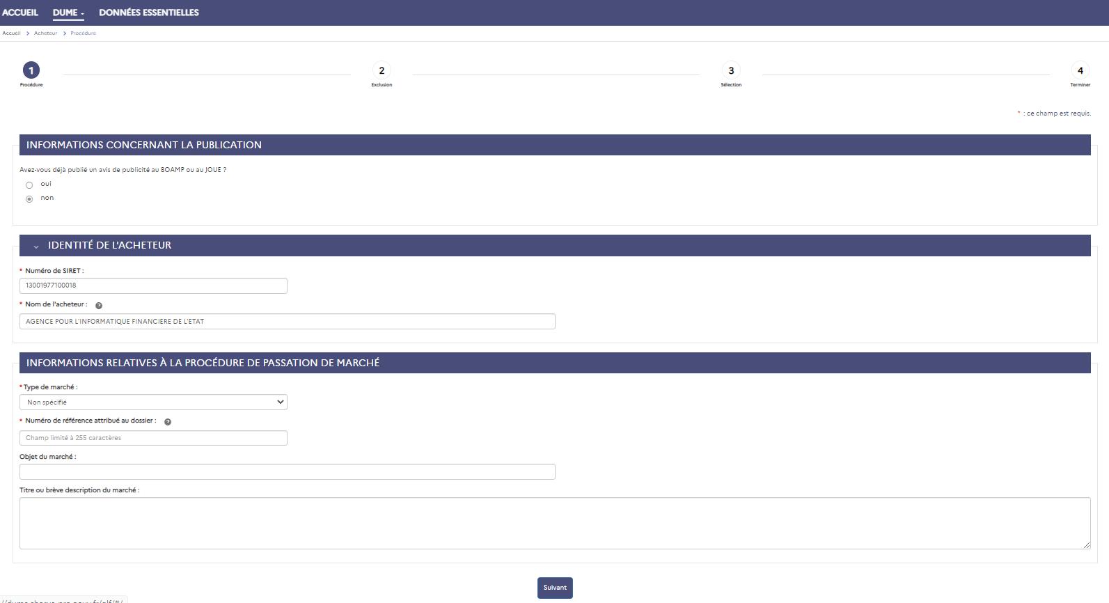 Capture d'écran page procédure